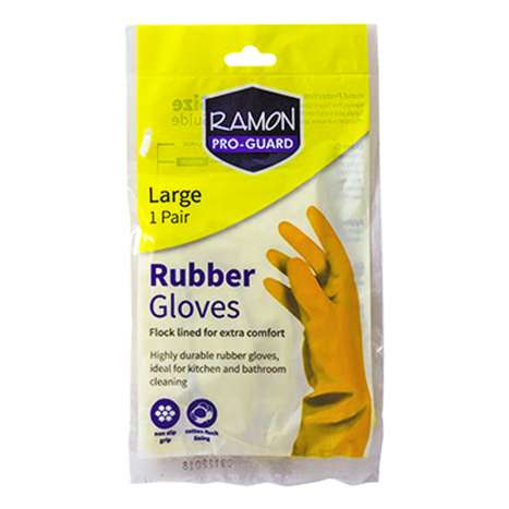 Ramon Pro Guard Yellow Rubber Gloves - Large