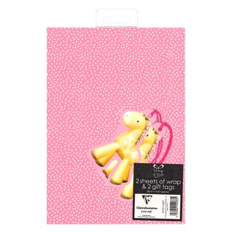 Gift Wrap 2 Pack + 2 Tags - Pink Baby Girl (50cm x 70cm)