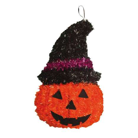 Tinsel pumpkin decoration