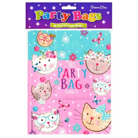 Party Loot Bags 10 Pack - Pink Kittens
