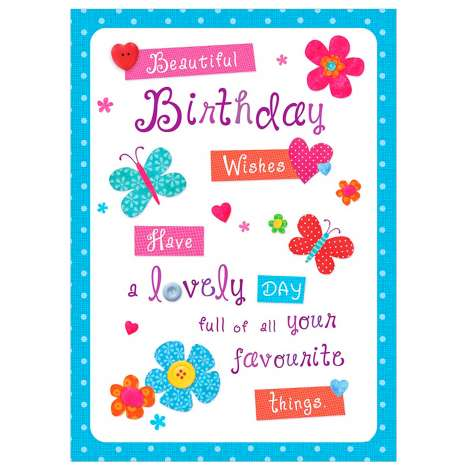 Garlanna Greeting Cards Code 50 - Birthday Wishes (Text)