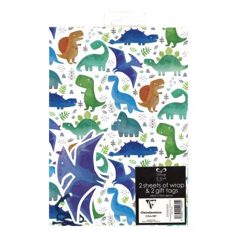 Gift Wrap 2 Pack + 2 Tags - Dinosaurs (50cm x 70cm)