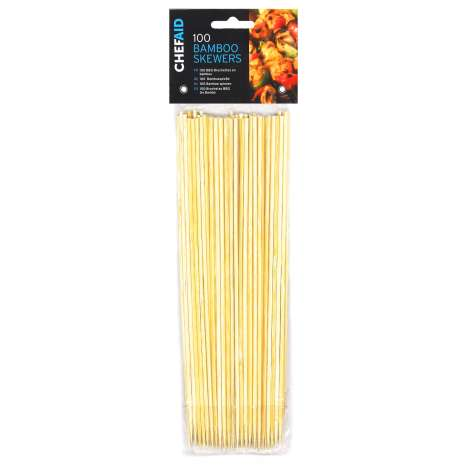 Chef Aid Bamboo Skewers 100 Pack - Clip Strip Provided
