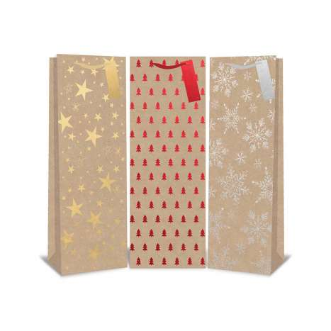Kraft Foil Bottle Bags - 3 Assorted Designs