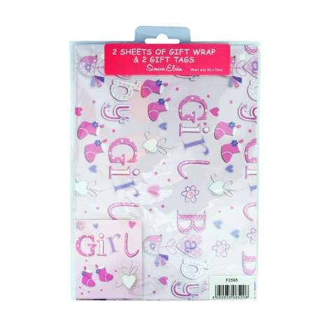 Gift Wrap 2 Pack + 2 Tags - Baby Girl (50cm x 70cm)