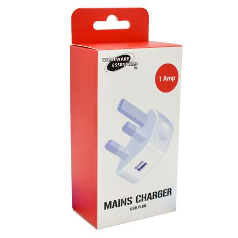 H/ess USB 1A Mains adaptor - White