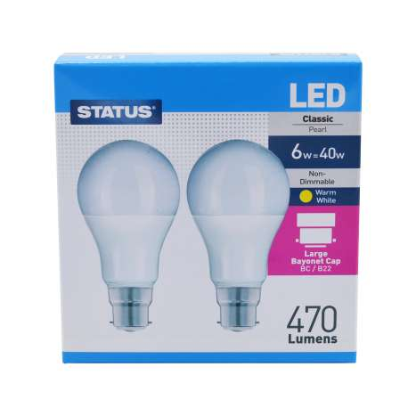 Status LED 6w=40w Classic Bayonet Cap Light Bulb - 2 Pack