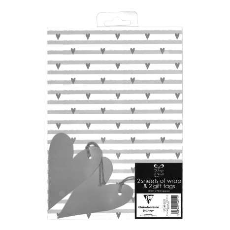 Gift Wrap 2 Pack + 2 Tags - Hearts (50cm x 70cm)