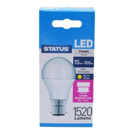 Status LED 15w=100w Classic Bayonet Cap Light Bulb