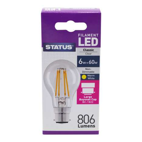 Status Filament LED 6w=60w Classic Bayonet Cap Light Bulb