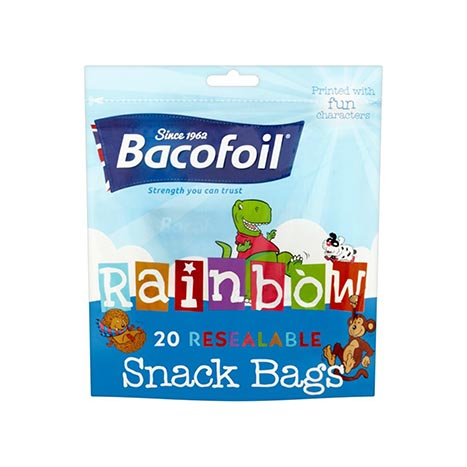 Baco rainbow 20 resealable snack bags 130 x 120mm