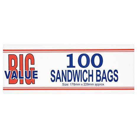 Sandwich bags big value 100pk ( 178 x 229mm)