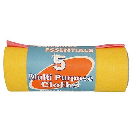 H/ess 5 pack multi purpose cloths