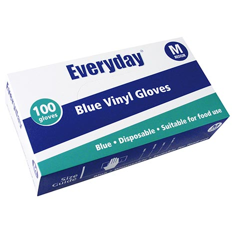 Blue vinyl everyday 100 gloves powder free - 5053
