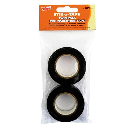 H/ess black pvc insulation tape 2pk 19mmx10m