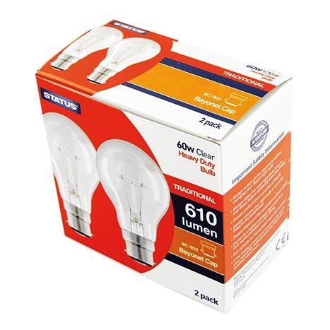 Heavy duty gls bulb 60w bc clear 2pk