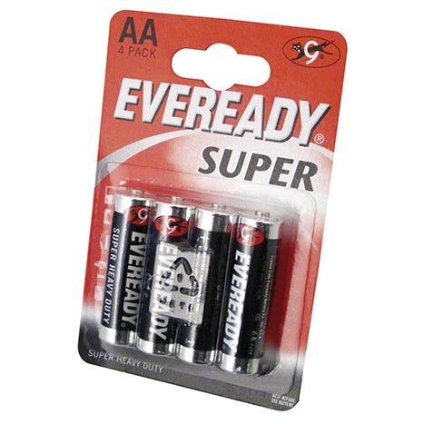Eveready super h/duty batteries 4pk aa
