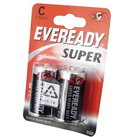 Eveready super h/duty batteries 2PK C