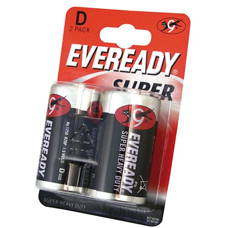 Eveready super h/duty batteries 2pk d