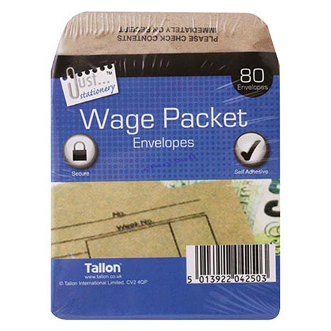 Wage envelopes 80pk 100 x 110mm
