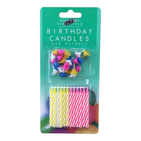 Homeware Essentials Birthday Candles 24 Pack - Clip Strip Provided