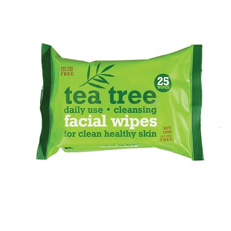 Tea tree facial wipes 25's (twin pack)