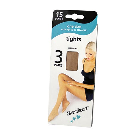 One Size Tights 15 Denier 3 Pack - Bamboo