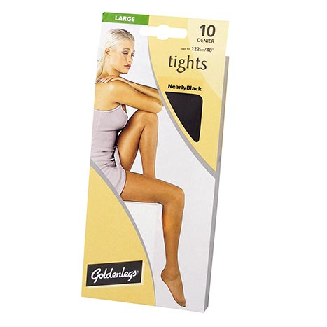 Tights sgl pk 10d large - nearly black