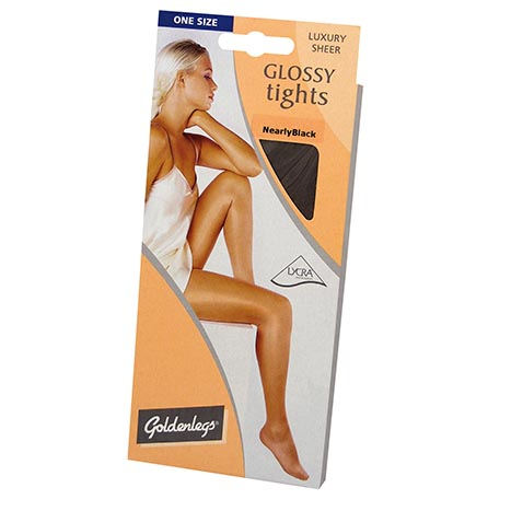 Golden legs glossy tights - nearly black
