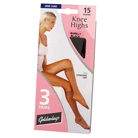 Knee high 3 pack 15d tights - nearly black