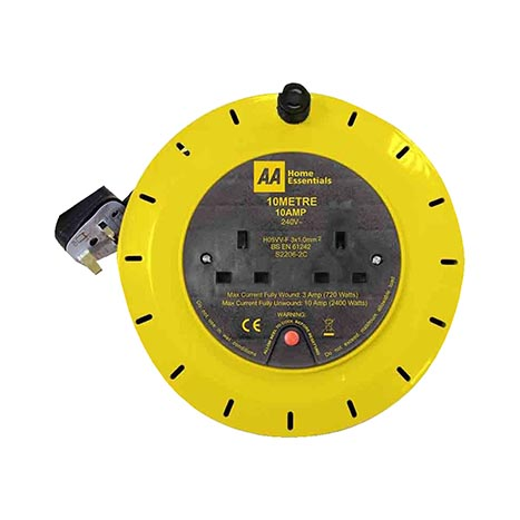 2 socket extension 10 metre cable reel 10amp
