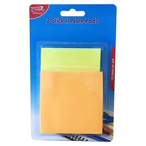 100 Sheets Stick it Notes Pad 2 Pack Homeware Essentials
