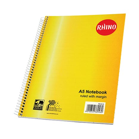 Rhino essentials a5 spiral book 50lf - rea58