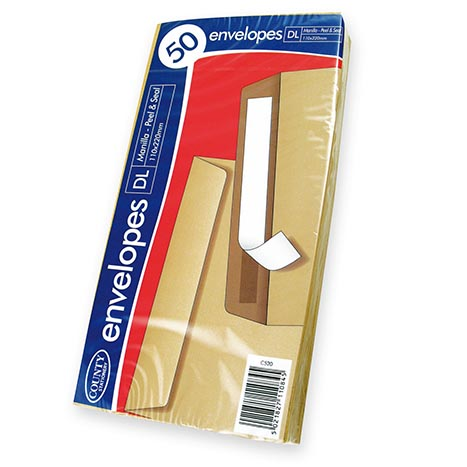 C520 - dl envelopes 50 manilla peel & seal 110x220mm