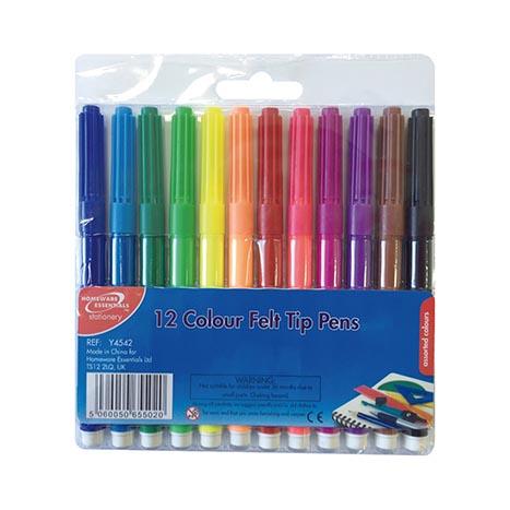 H/ess colour felt tip pens 12pk