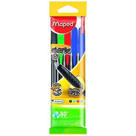 Maped 5 pack ballpoint pens asstd cols