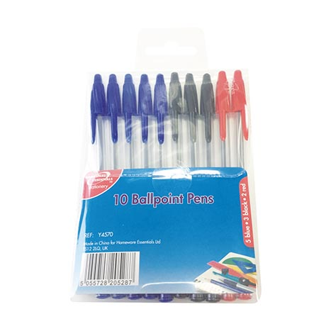 Homeware Essentials Ballpoint Pens 10 Pack - Assorted Colours