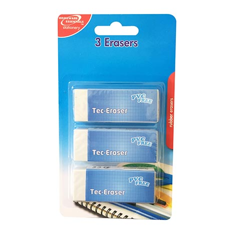 Homeware Essentials Erasers 3 Pack