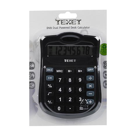 Texet 8 digit dual powered semi desktop calculator