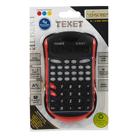 Texet 72 func dual power scientific calculator fraction keys