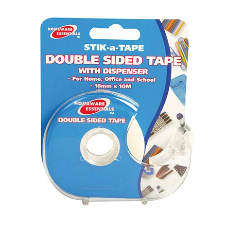 H/ess double sided tape with dispenser 18mm x 10m