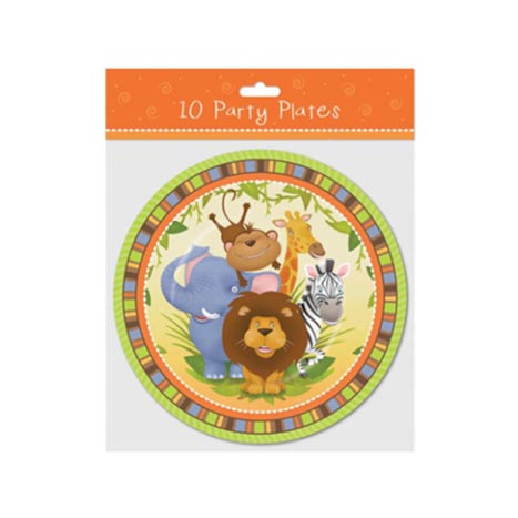 "Party plates 9"" 10pk jungle design - 6751"