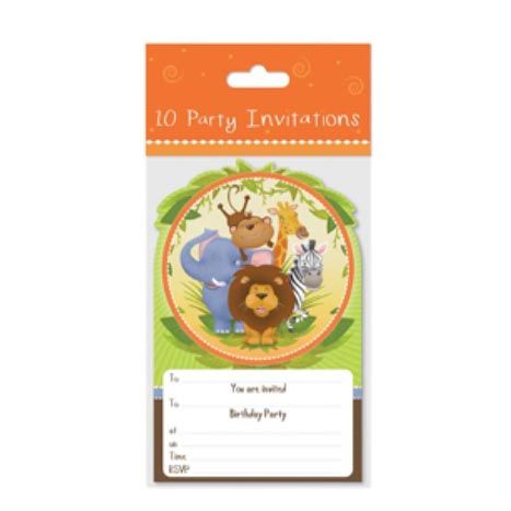 Party invitation 10pk jungle design - 6763