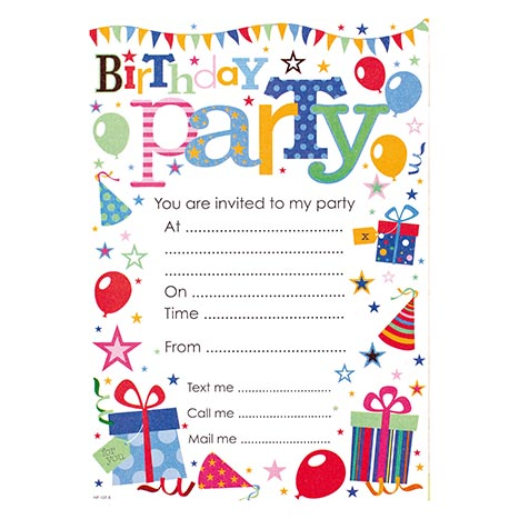 Party invitation 20pk generic - hp107r