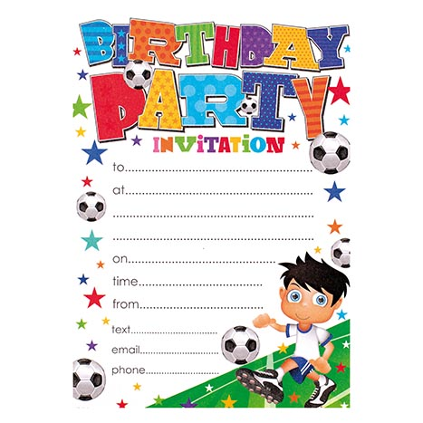Party invitation 20pk boy - hp104r