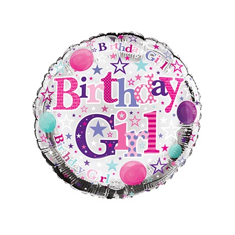 "Helium balloons 18"" - birthday girl - fb1208r"