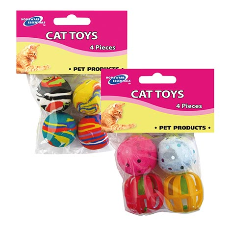 Cat toy 4 pack (asstd 2 types eva ball/ bell)