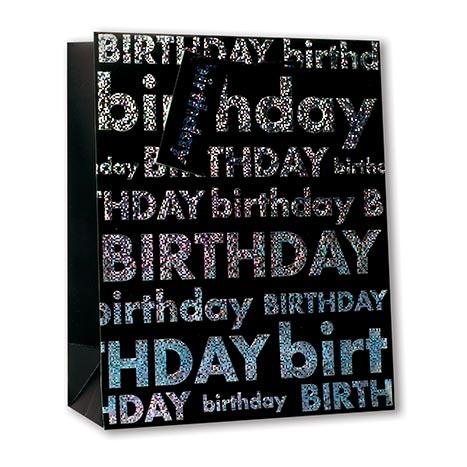 Gbm8346n - gift bag medium - black happy birthday