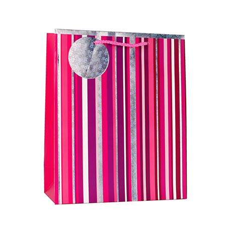 Gbm8302m - gift bag medium - pink stripe