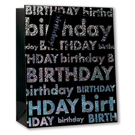 Gbl8347n - gift bag large - black happy birthday